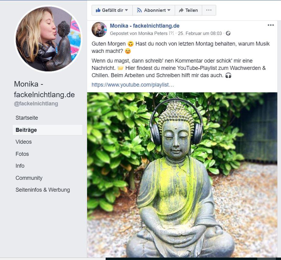 Facebook Ausschnitt von Monika - fackelnichtlang.de, Buddha mit Kopfhöreren Bokeh-Aufnahme Schneeflocke mit 6eckigem, im Beitrag zu Vision Ziele Warum Psyche