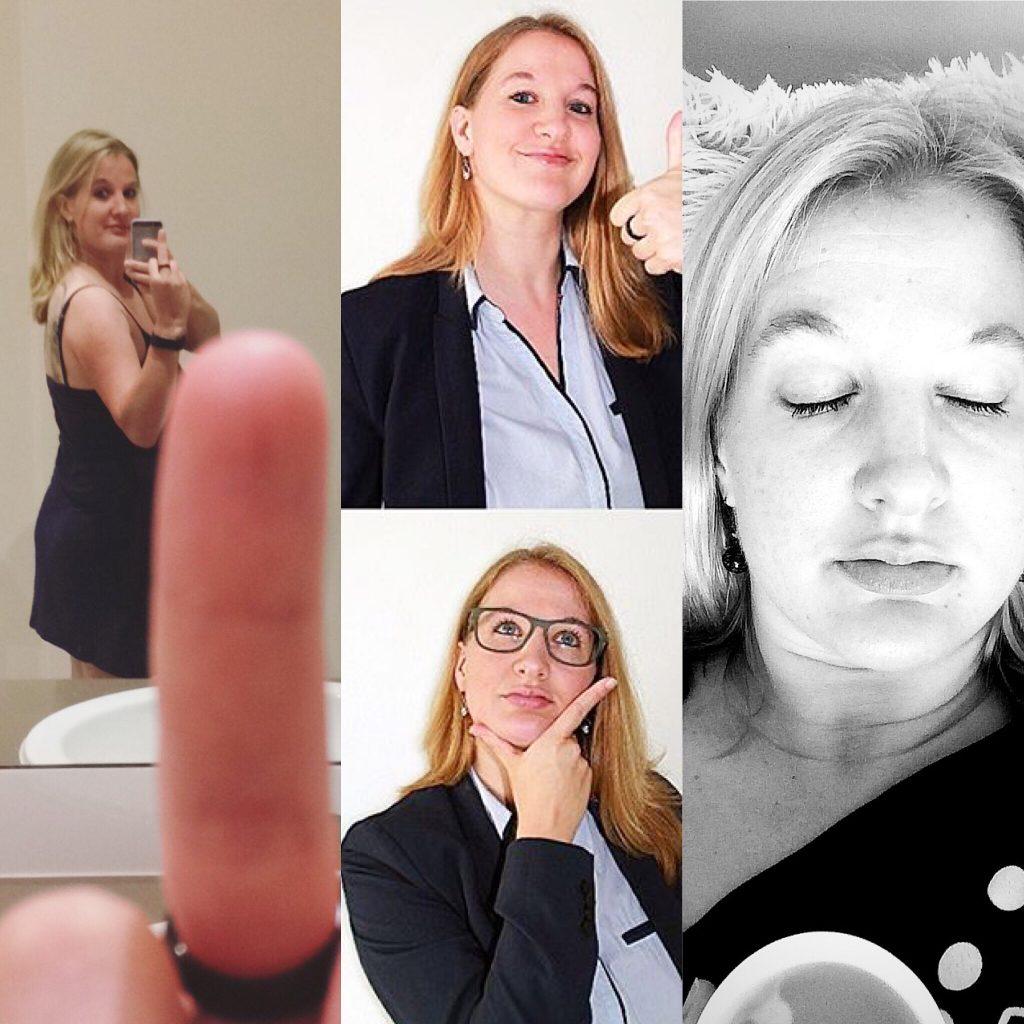 Monika als Vierer-Collage, mit Kraft und Ruhe, im Beitrag zu Vision Ziele Warum Psyche