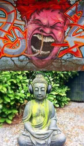 Startseite fackelnichtlang.de Schreiendes Graffiti und Buddha mit Kopfhörern